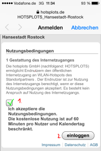"""Step 3: Tick the box, and click """"einloggen"""""""