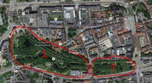 1) Rosengarten; 2) Wallanlagen