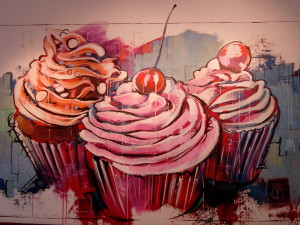 A wallpaper inside the Café – as gorgeous as the cup cakes!